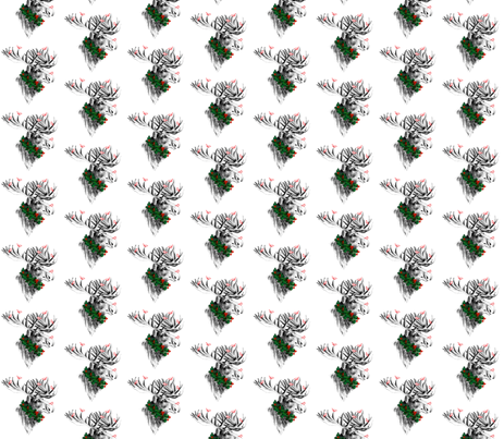 Christmas Moose and Birdies fabric by 13moons_design on Spoonflower - custom fabric