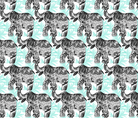 Marching_Elephant_Tribe-Pattern fabric by crystal_walen on Spoonflower - custom fabric