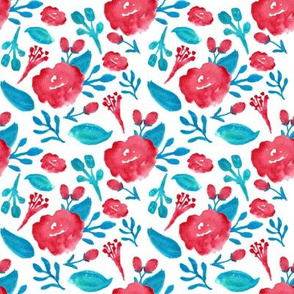 watercolor floral - red and blue rose scatter