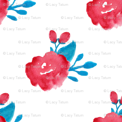 watercolor floral - red turquoise