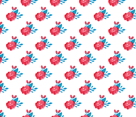 watercolor floral - red turquoise fabric by smallhoursshop on Spoonflower - custom fabric