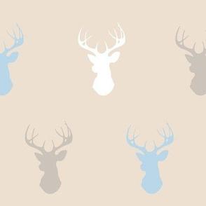 Deer- baby blue/beige/white - Cottonwood
