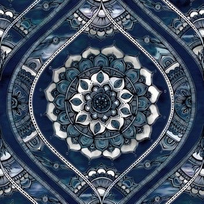 Just Before Dawn - Boho Mandala Ogee Doodle Pattern on Navy Blue