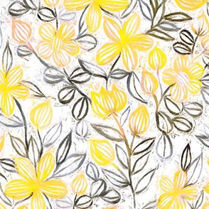 Sunny Yellow and Neutrals Crayon Striped Summer Floral