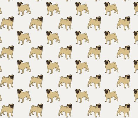 Pugs on cream fabric by darlingdearest on Spoonflower - custom fabric