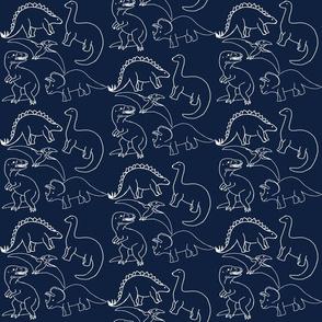Dinosaur White Outline