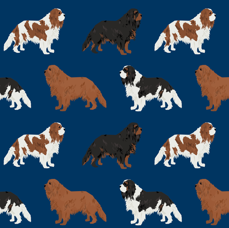 cavalier king charles spaniel navy blue cute dog pet dogs ruby black and tan blemein dog coat fabric fabric by petfriendly on Spoonflower - custom fabric