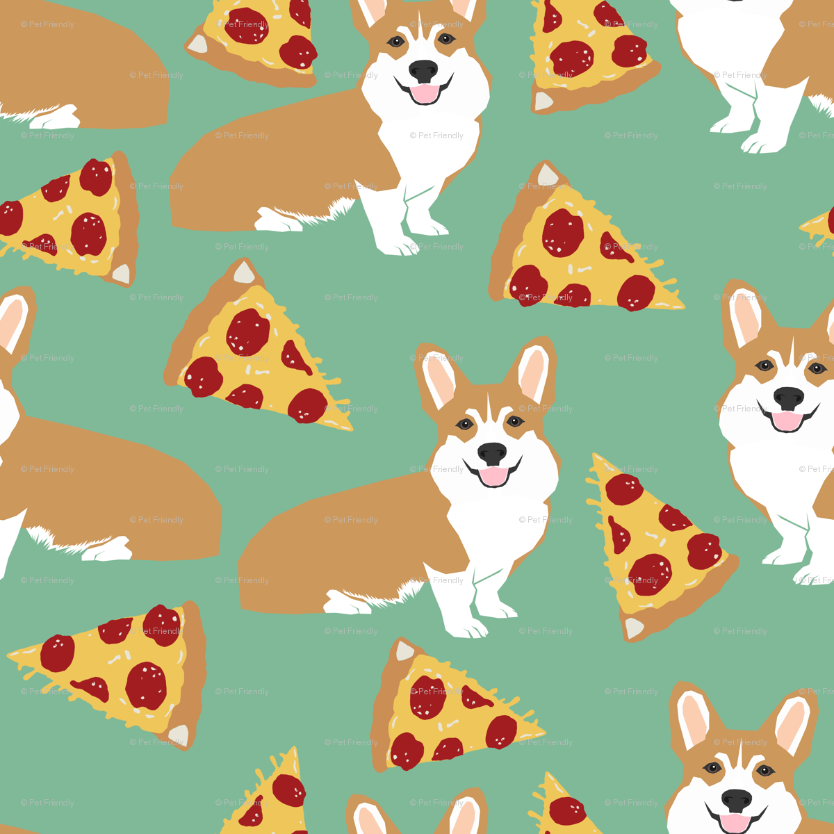 1039a11dfc6c corgi pizza for dog owners corgi owners cute corgi funny corgi fabric  fabric - petfriendly - Spoonflower