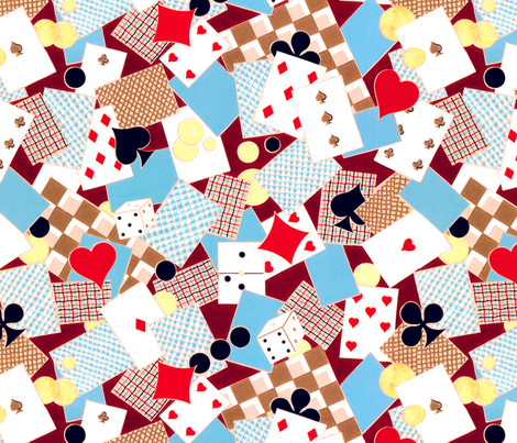 french playing cards suits poker clubs diamonds spades hearts dice domino gambling gamble elegant gothic lolita checker chequer games egl fabric by raveneve on Spoonflower - custom fabric