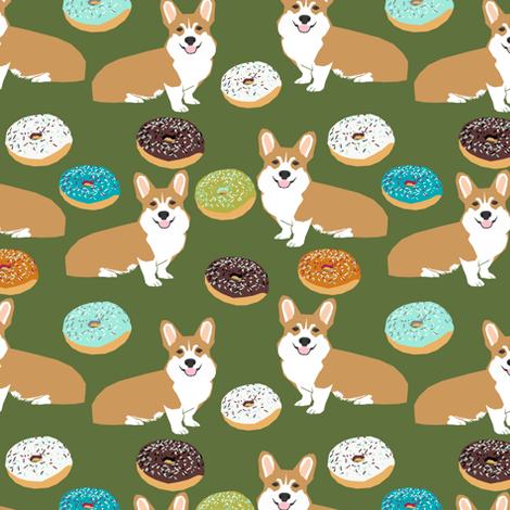 corgi donuts cute corgi novelty print for corgi owners corgi dog food funny corgi print fabric by petfriendly on Spoonflower - custom fabric