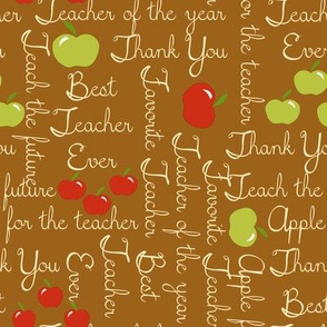 Apple for the teacher on brown