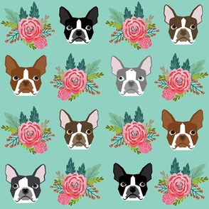 boston terrier dog florals flowers face cute dog best boston terrier dog fabric