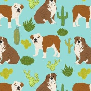 english bulldog cactus fabric minty blue mint dog cacti desert trendy dog fabric cactus succulents