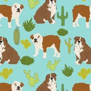 english bulldog cactus fabric minty blue mint dog cacti desert trendy dog fabric cactus succulents