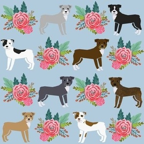 pitbull florals flower blue pitbull terrier pitbull floral dog cute dog florals fabric