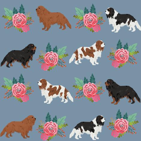cavalier king charles spaniel florals flower blue flowers kid cute dog fabric fabric by petfriendly on Spoonflower - custom fabric