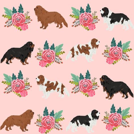 cavalier king charles spaniel pink florals floral dog fabric  fabric by petfriendly on Spoonflower - custom fabric