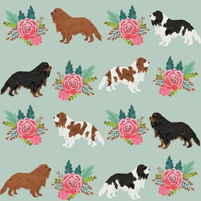 cavalier king charles spaniel dog florals flower mint floral dog dog breed fabric