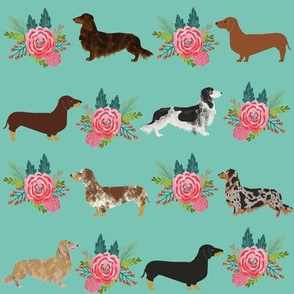 doxie green mint dachshund doxie dog mint florals floral cute dog fabric