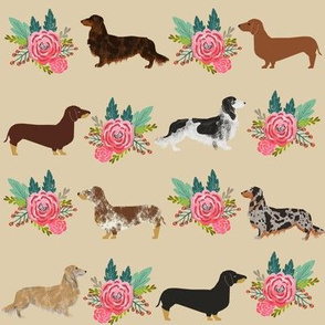 dachshunds floral flower doxie dachshund dog fabric