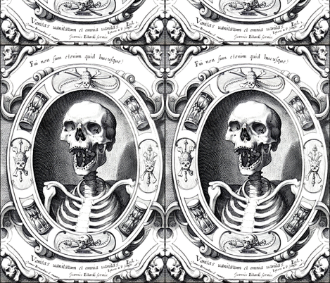 skulls bones crossbones swords banners frames hourglasses crowns kings skeletons monochrome black white gothic victorian pagan Wicca witchcraft antique halloween sickle scythe antiques spooky macabre morbid fabric by raveneve on Spoonflower - custom fabric