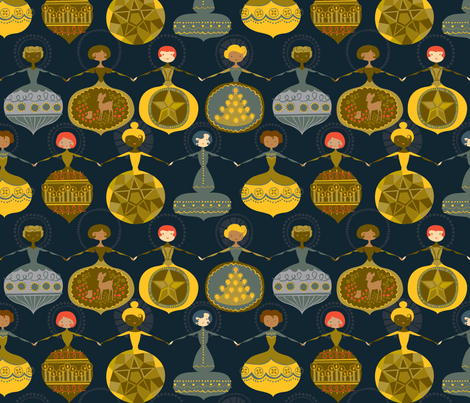 Vintage Ornament Collection - Gold/Blue fabric by ceciliamok on Spoonflower - custom fabric