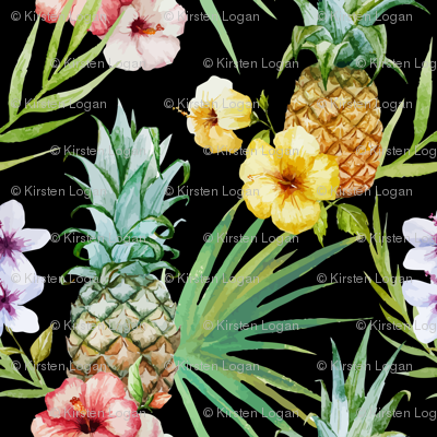Tropical Hawaii Watercolor Pineapple Hibiscus Plumeria