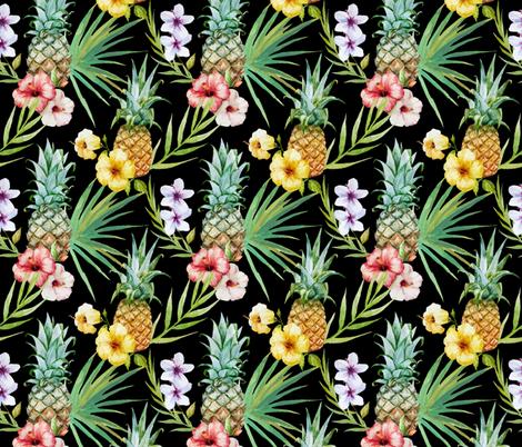 Tropical Hawaii Watercolor Pineapple Hibiscus Plumeria fabric by furbuddy on Spoonflower - custom fabric