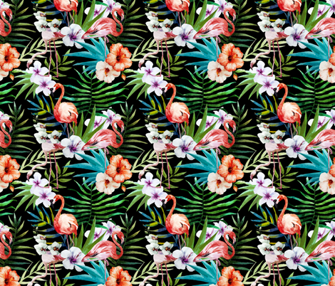 Tropical Watercolor Flamingos Palms and Plumeria Flowers fabric by khaus on Spoonflower - custom fabric