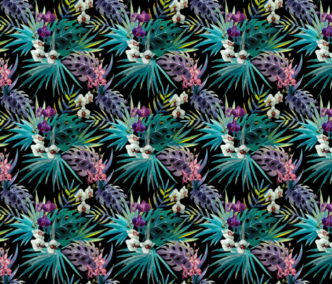 Tropcial Hawaii Watercolor Palms and Orchids fabric by furbuddy on Spoonflower - custom fabric