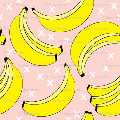 geometric bananas on pink