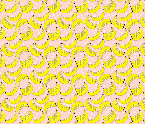 geometric bananas on pink fabric by lilcubby on Spoonflower - custom fabric