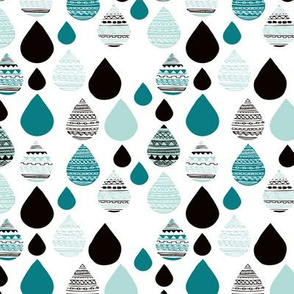 rainy day drops are falling from the sky aztec water winter blue XS