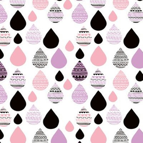 rainy day drops are falling from the sky aztec water lilac pink XS
