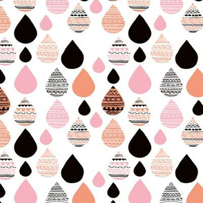 rainy day drops are falling from the sky aztec water fall orange pink XS