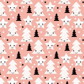 Merry christmas kawaii seasonal christmas trees and stars Japanese illustration print pastel pink XS