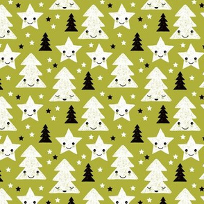 Merry christmas kawaii seasonal christmas trees and stars Japanese illustration print pastel green XS