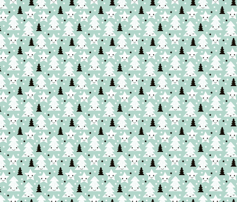 Merry christmas kawaii seasonal christmas trees and stars Japanese illustration print pastel mint XS fabric by littlesmilemakers on Spoonflower - custom fabric