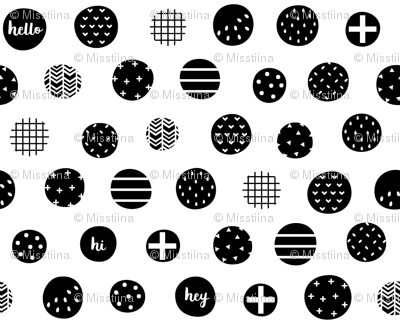 hello hi hey dots black white :: fruity fun