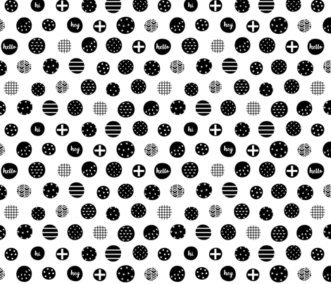 hello hi hey dots black white :: fruity fun fabric by misstiina on Spoonflower - custom fabric