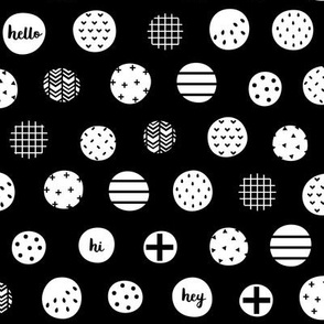 hello hi hey dots white black :: fruity fun