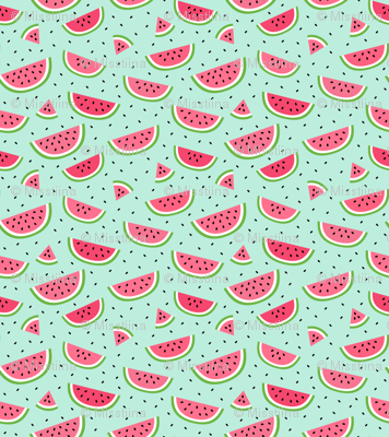watermelons light teal :: fruity fun bigger