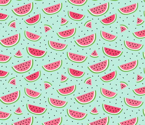 watermelons light teal :: fruity fun bigger fabric by misstiina on Spoonflower - custom fabric