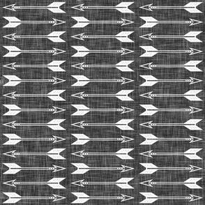 arrows on dark grey linen
