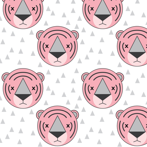 pink tigers on white fabric by lilcubby on Spoonflower - custom fabric