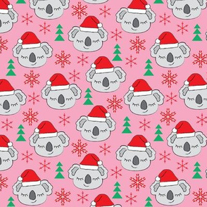 Christmas koalas on pink