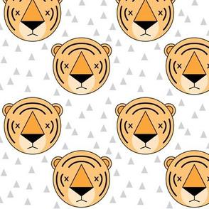orange tigers on white