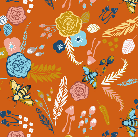 Late Summer Floral, Bees and Mushrooms fabric by juliapassafiume on Spoonflower - custom fabric