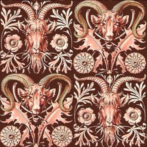 goats antlers rams horns animals flowers floral thistle art nouveau leaves leaf