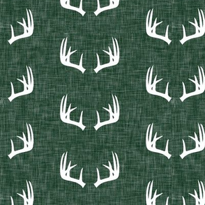 antlers on hunter green linen (small scale)